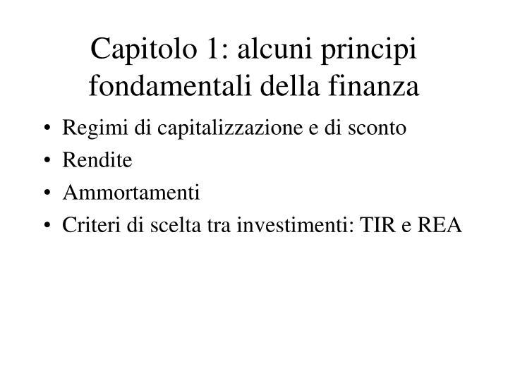 Capitolo 1: alcuni principi fondamentali della finanza