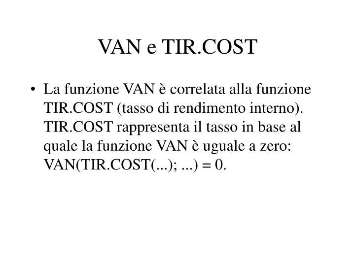 VAN e TIR.COST