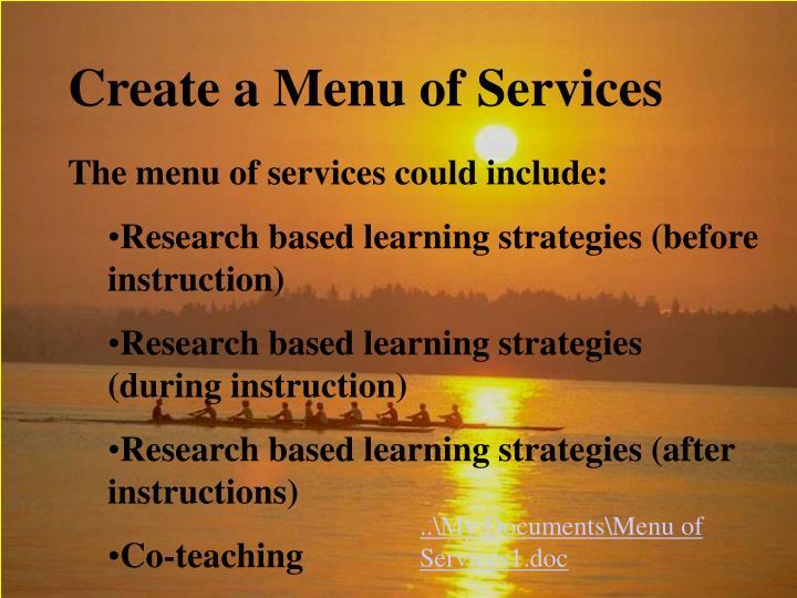 Create a Menu of Services