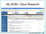 my ncbi save research