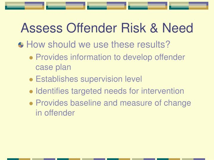 Assess Offender Risk & Need