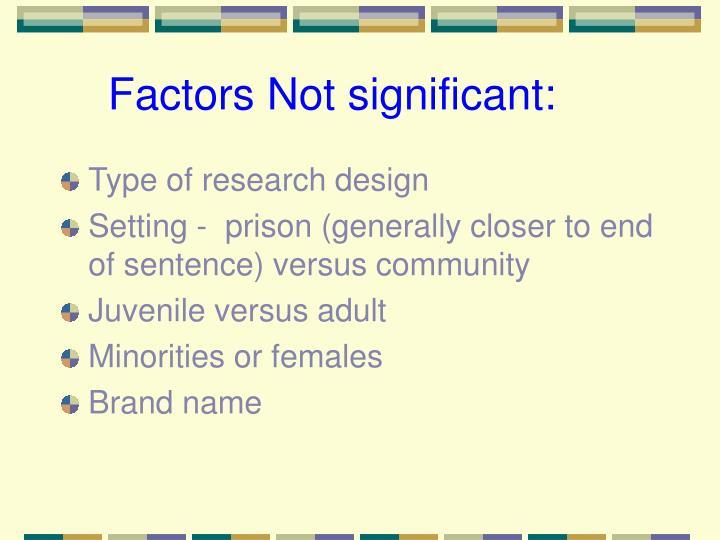 Factors Not significant: