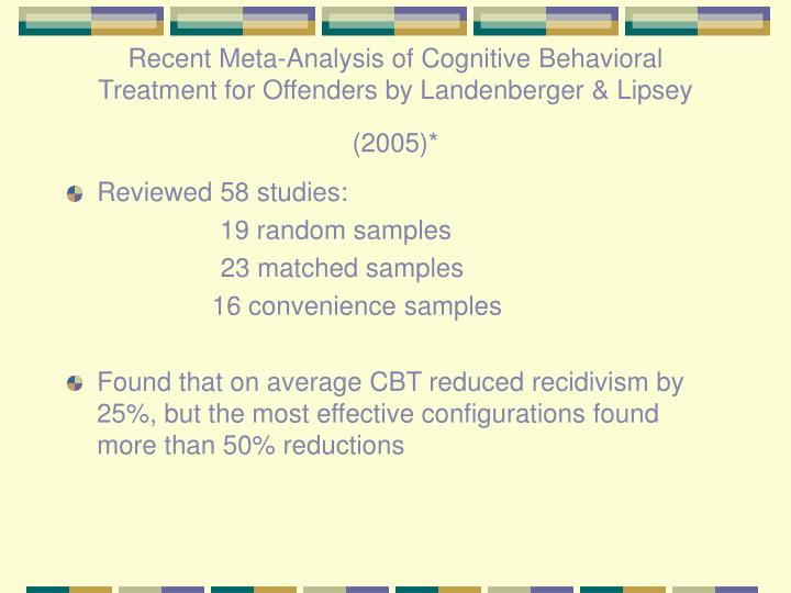 Recent Meta-Analysis of Cognitive Behavioral Treatment for Offenders by Landenberger & Lipsey (2005)*