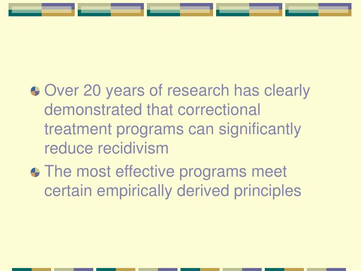 Over 20 years of research has clearly demonstrated that correctional treatment programs can significantly reduce recidivism