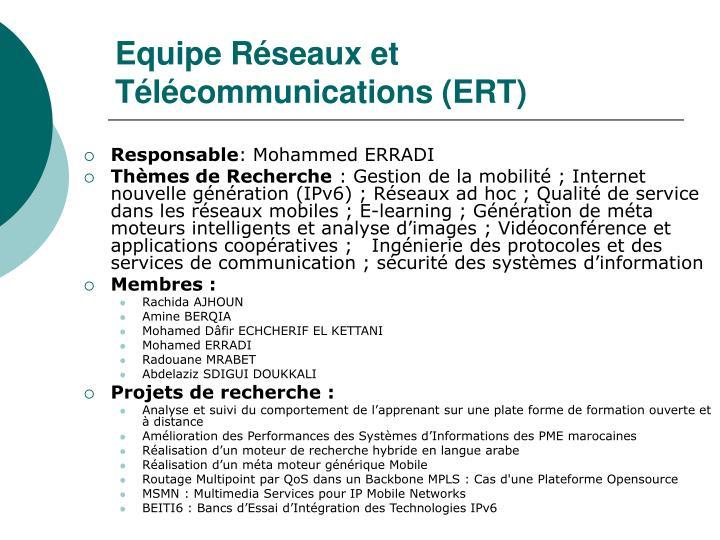 Equipe Réseaux et Télécommunications (ERT)