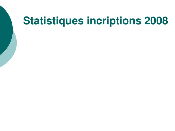 Statistiques incriptions 2008