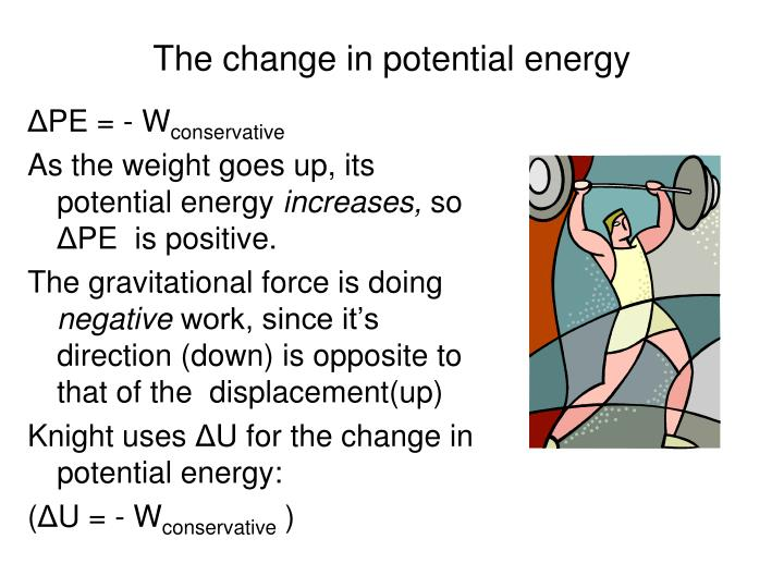 The change in potential energy