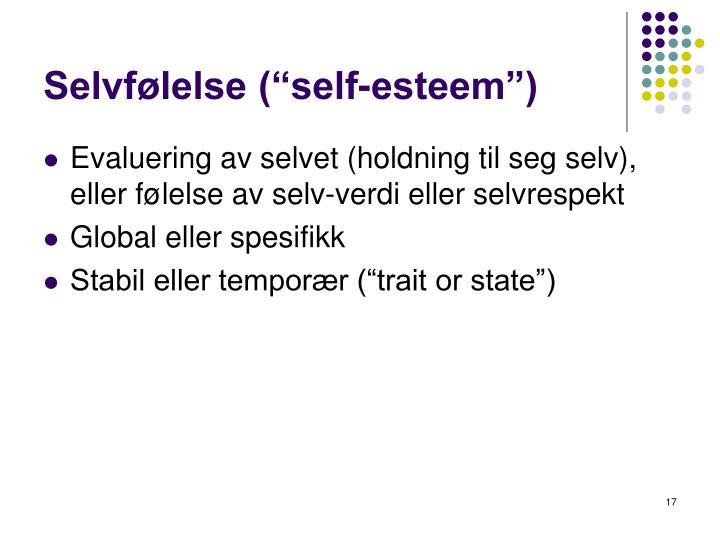 "Selvfølelse (""self-esteem"")"