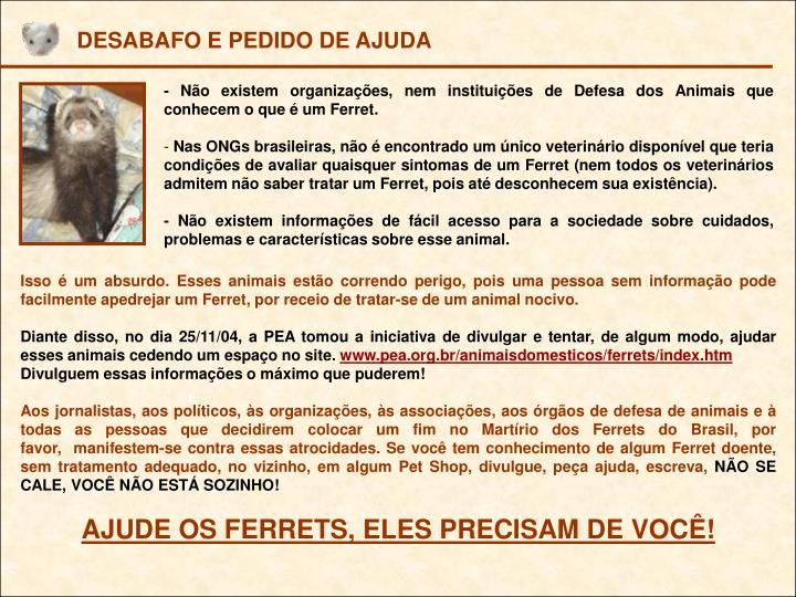 DESABAFO E PEDIDO DE AJUDA