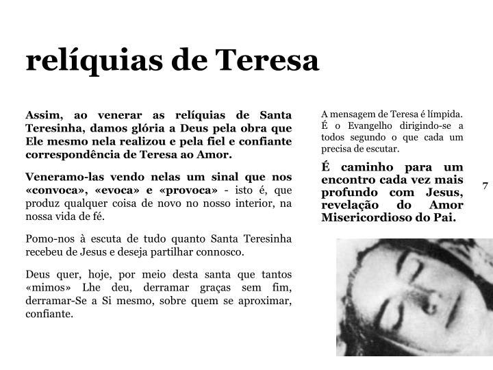 relíquias de Teresa