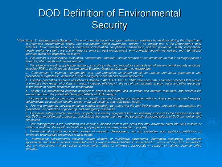 DOD Definition of Environmental Security