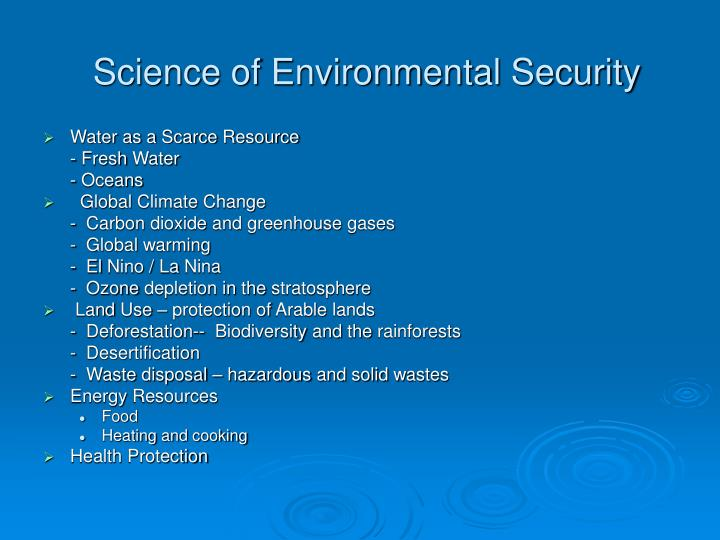 Science of Environmental Security