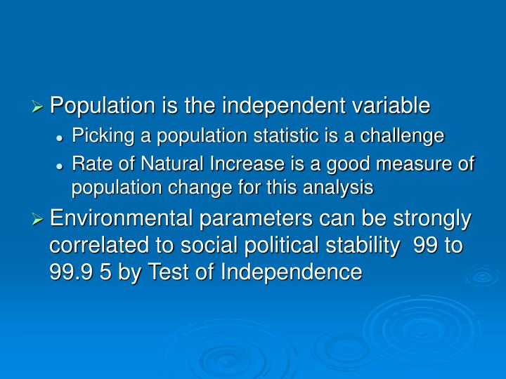 Population is the independent variable