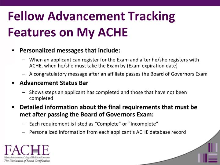 Fellow Advancement Tracking Features on My ACHE