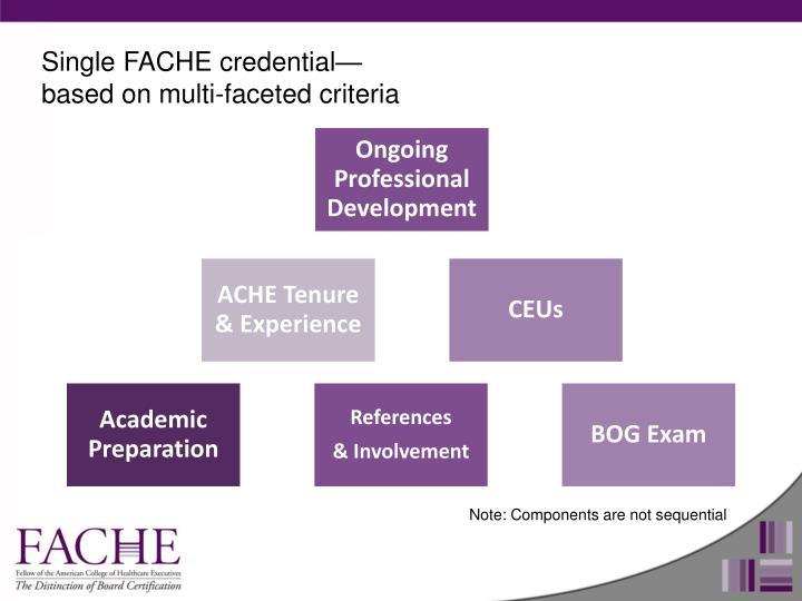 Single FACHE credential—based on multi-faceted criteria