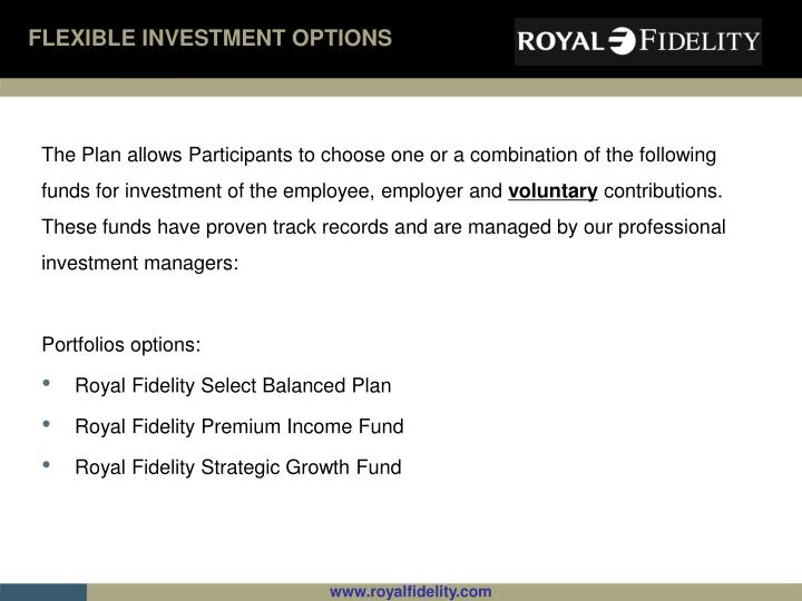 FLEXIBLE INVESTMENT OPTIONS