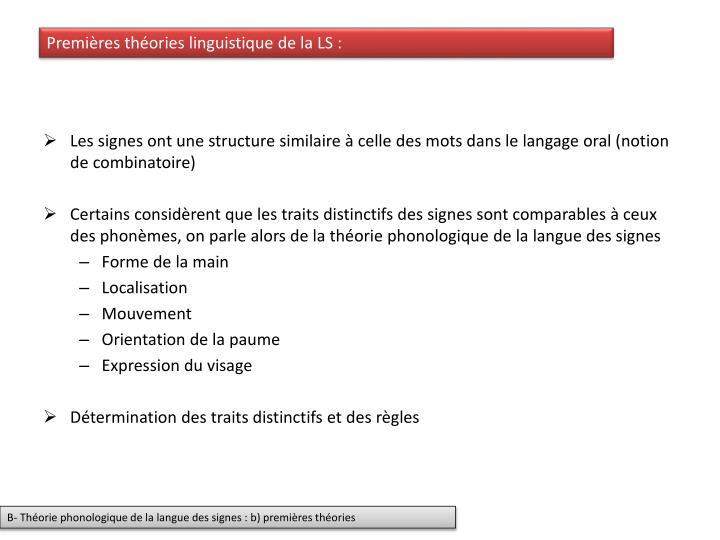 Premières théories linguistique de la LS :