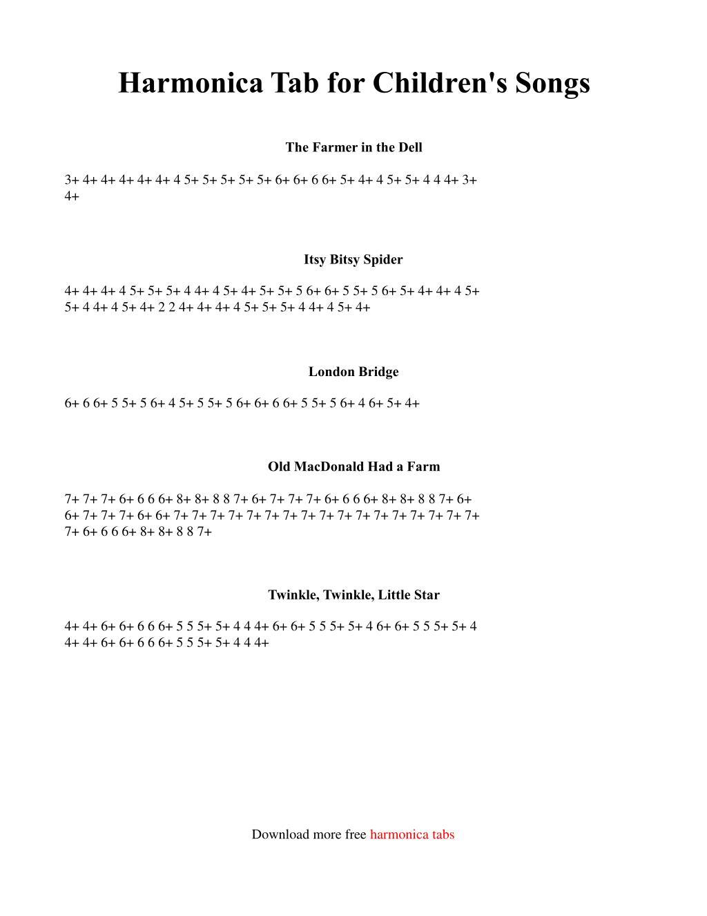 Harmonica Tab for Children's Songs