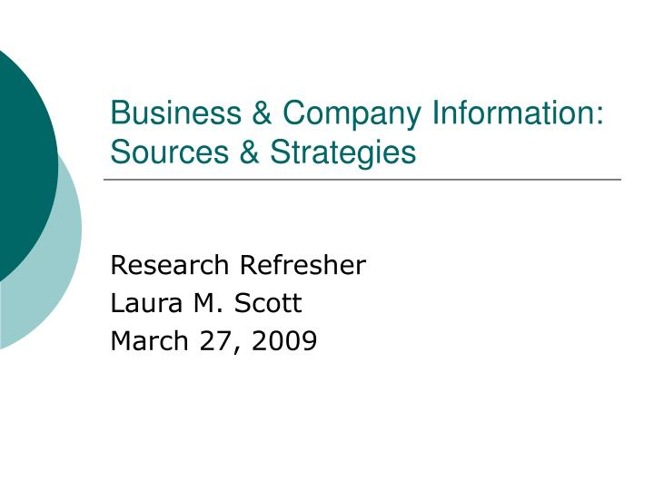 Business company information sources strategies