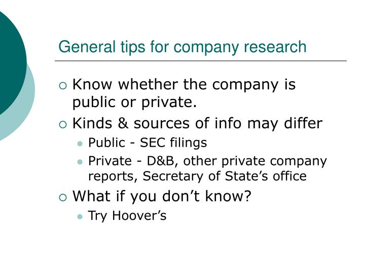 General tips for company research