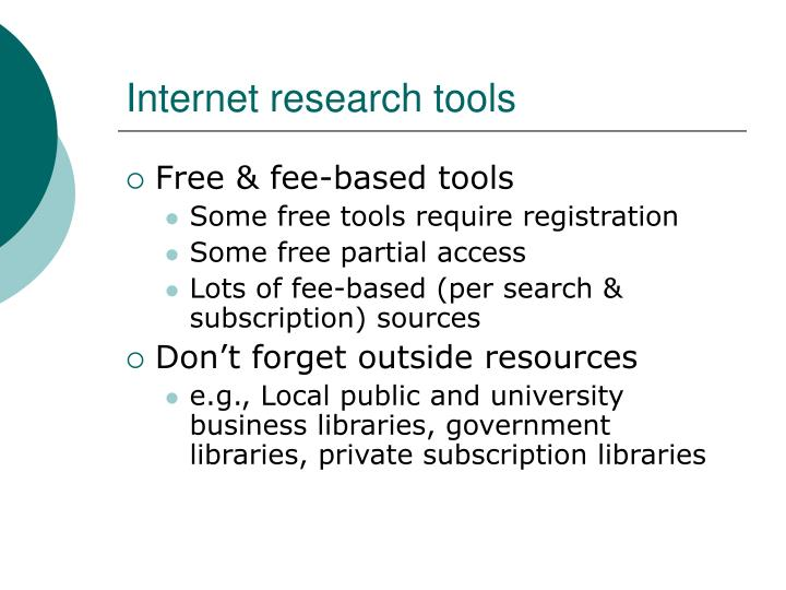 Internet research tools