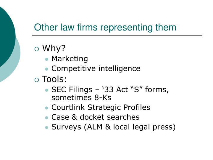 Other law firms representing them
