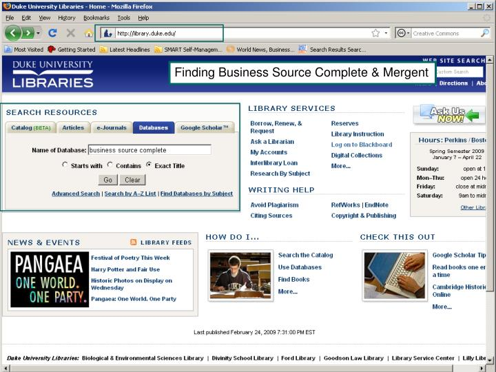 Finding Business Source Complete & Mergent