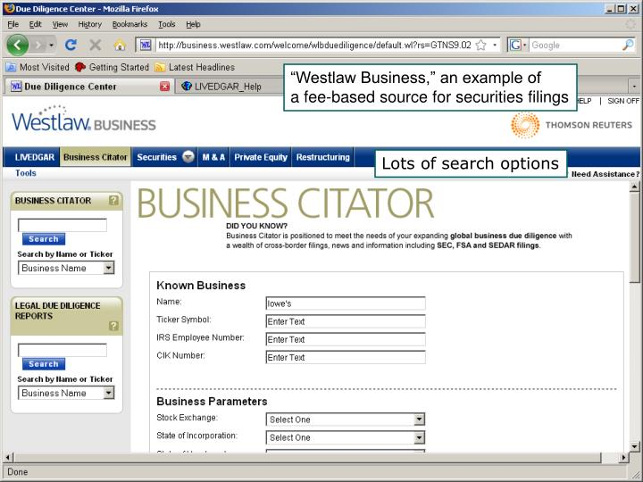"""Westlaw Business,"" an example of"