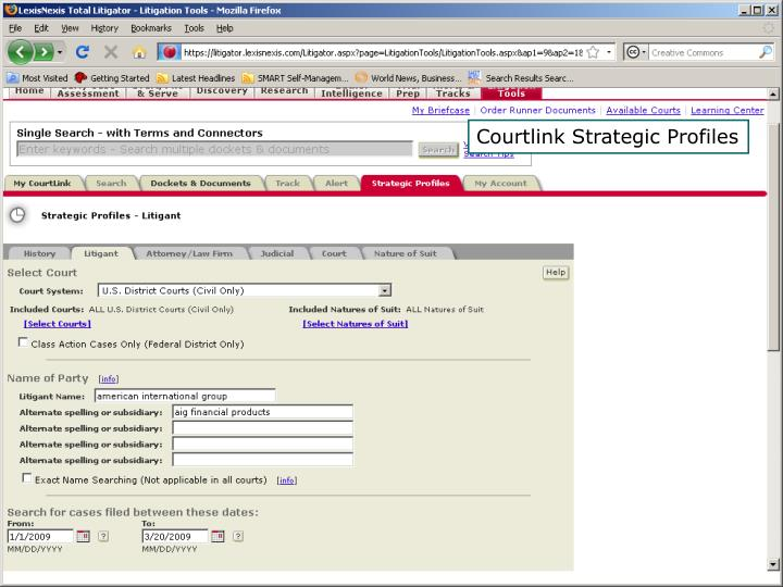 Courtlink Strategic Profiles