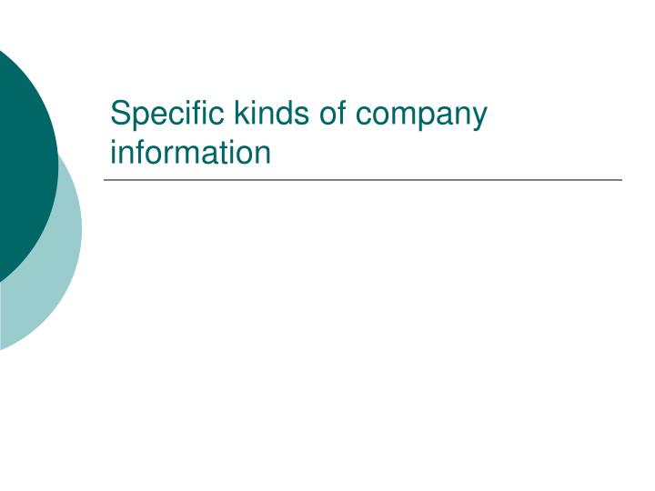 Specific kinds of company information