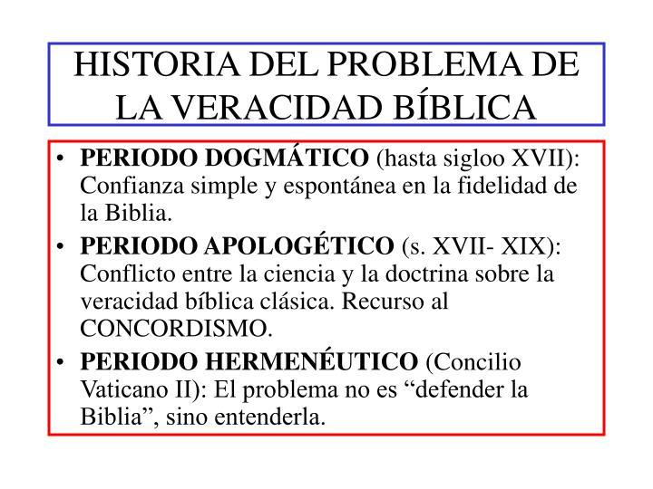 HISTORIA DEL PROBLEMA DE LA VERACIDAD BÍBLICA
