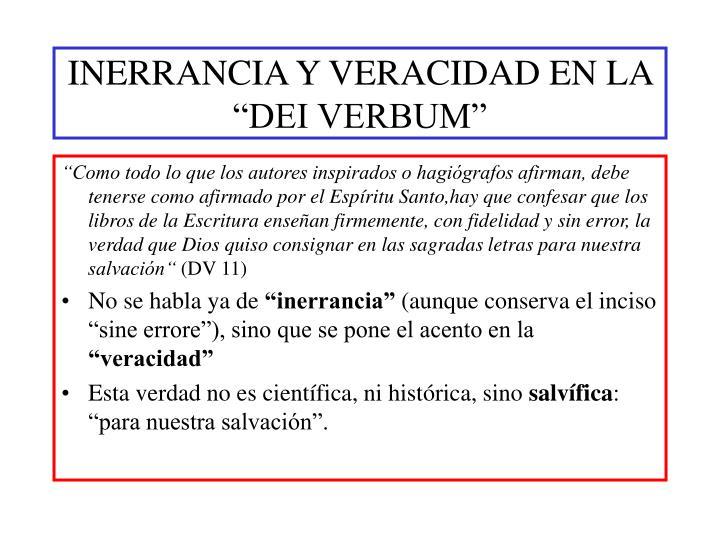 """INERRANCIA Y VERACIDAD EN LA """"DEI VERBUM"""""""