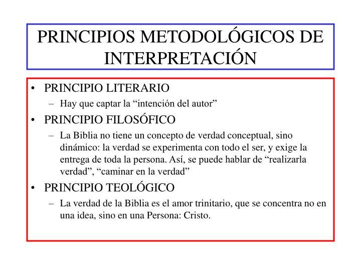 PRINCIPIOS METODOLÓGICOS DE INTERPRETACIÓN