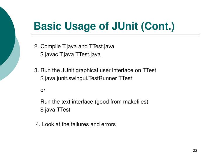 Basic Usage of JUnit (Cont.)