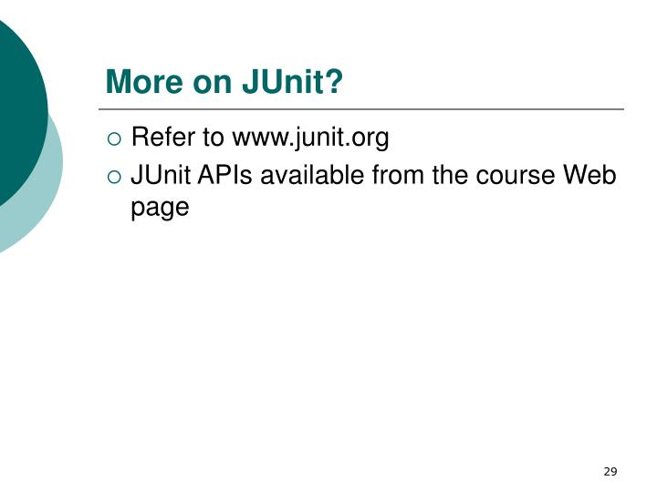 More on JUnit?