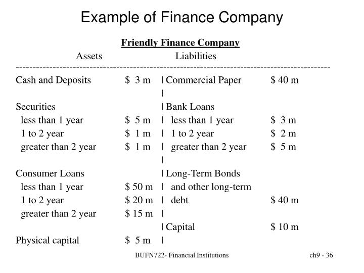 Example of Finance Company
