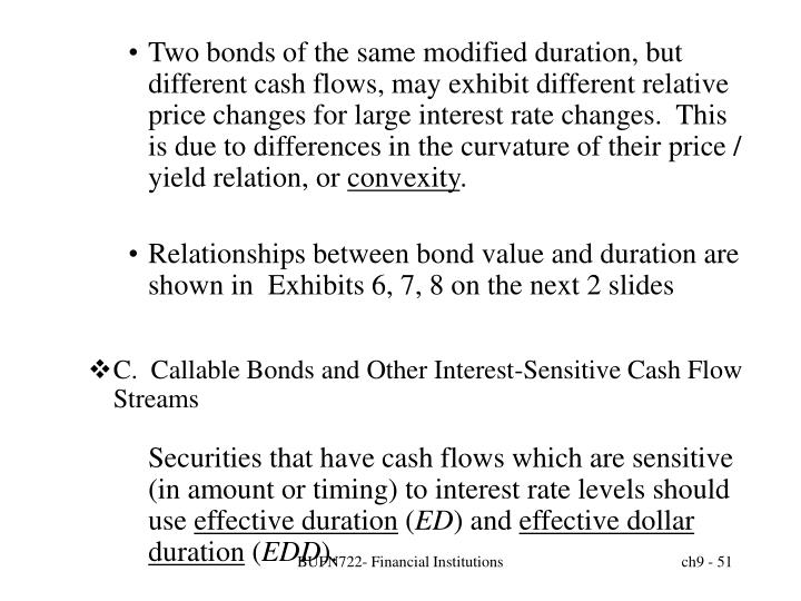 Two bonds of the same modified duration, but different cash flows, may exhibit different relative price changes for large interest rate changes.  This is due to differences in the curvature of their price / yield relation, or