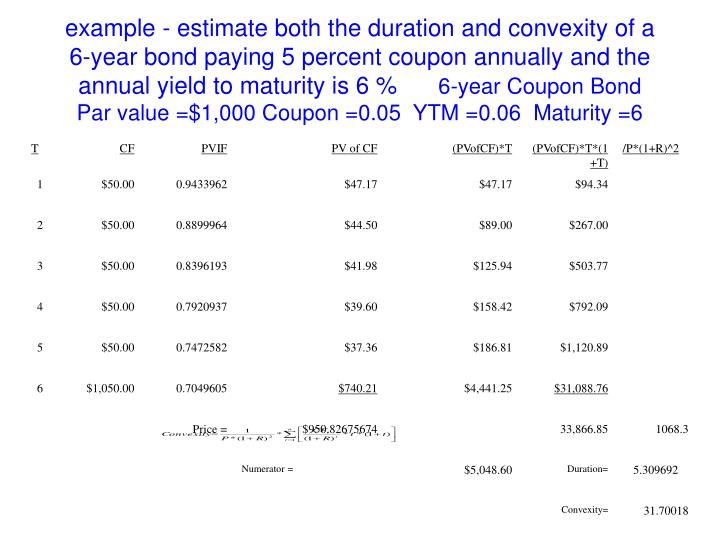 example - estimate both the duration and convexity of a 6-year bond paying 5 percent coupon annually and the annual yield to maturity is 6 %