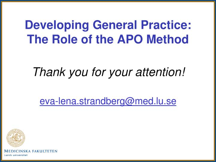 Developing General Practice: