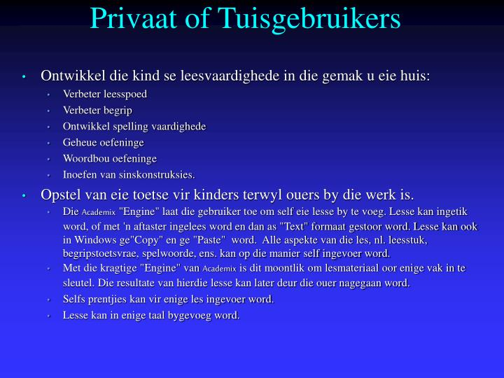 Privaat of Tuisgebruikers