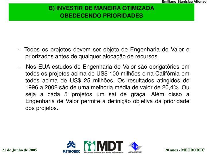 B) INVESTIR DE MANEIRA OTIMIZADA