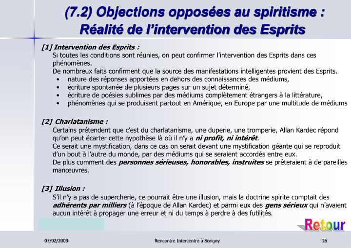 (7.2) Objections opposées au spiritisme : Réalité de l'intervention des Esprits