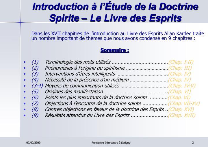 Introduction à l'Étude de la Doctrine Spirite – Le Livre des Esprits