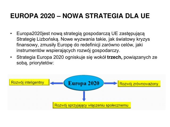 EUROPA 2020 – NOWA STRATEGIA DLA UE