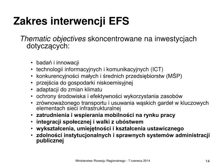 Zakres interwencji EFS