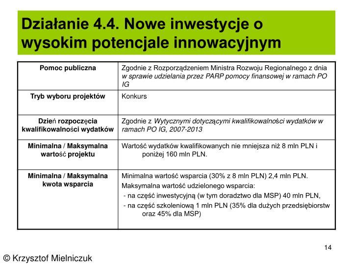 Działanie 4.4. Nowe inwestycje o wysokim potencjale innowacyjnym