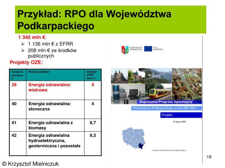 Przykład: RPO dla Województwa   Podkarpackiego