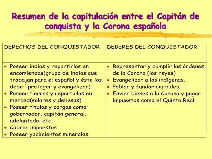 Resumen de la capitulación entre el Capitán de conquista y la Corona española