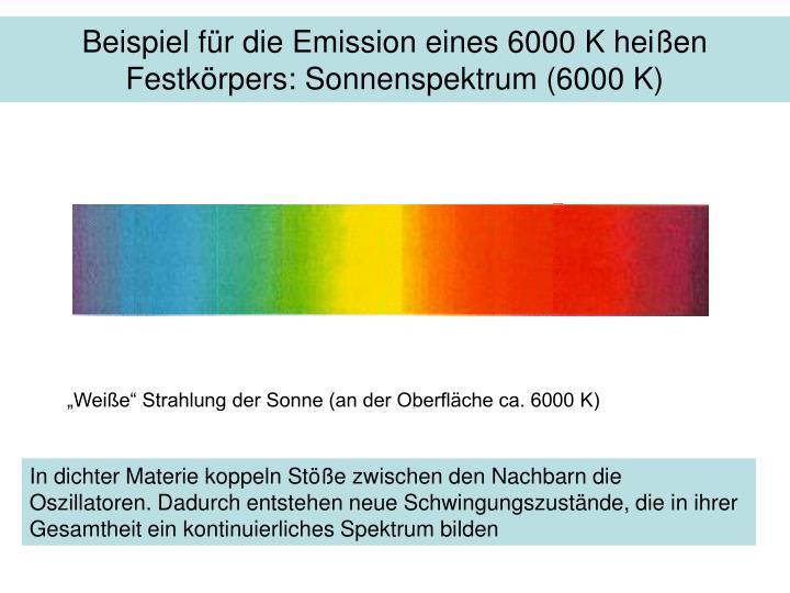 Beispiel für die Emission eines 6000 K heißen Festkörpers: Sonnenspektrum (6000 K)