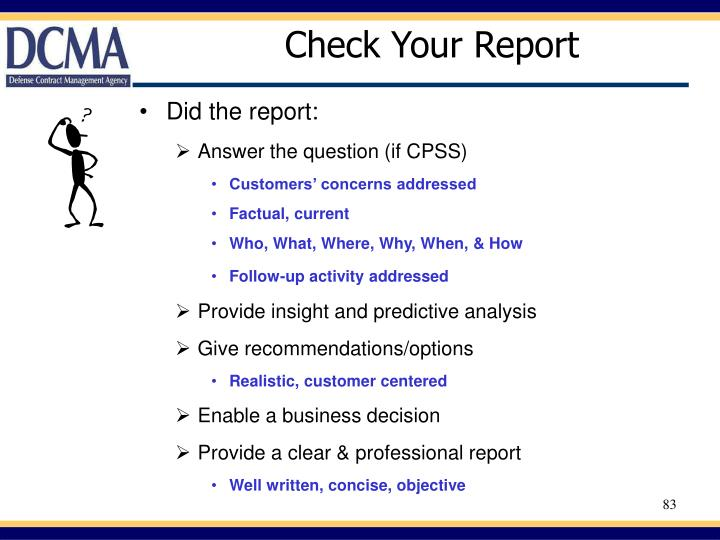 Check Your Report